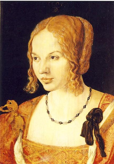 ALBRECHT DÜRER, Ritratto di giovane veneziana, 1505, olio su tavola, 33 x 25 cm, Vienna, Kunsthistorisches Museum