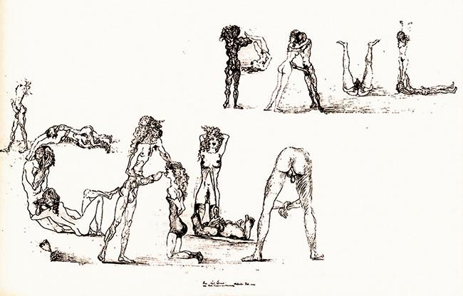 Fantasie erotiche sulla grafia  dei nomi Paul (Éluard) e Gala, 1931