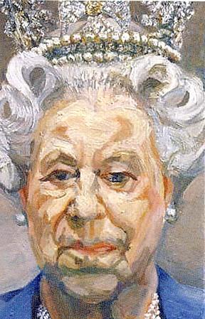 L. FREUD, Ritratto della Regina Elisabetta II, 2000-2001, olio su tela, 23,5 x 15,2 cm, Windsor, Castello di Windsor