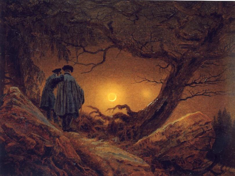 C.D.FRIEDRICH, Due uomini davanti alla luna, 1819, olio su tela, cm. 35 x 44, Dresda,Staaliche Kunstsmmulugen, Gemaldegalerie