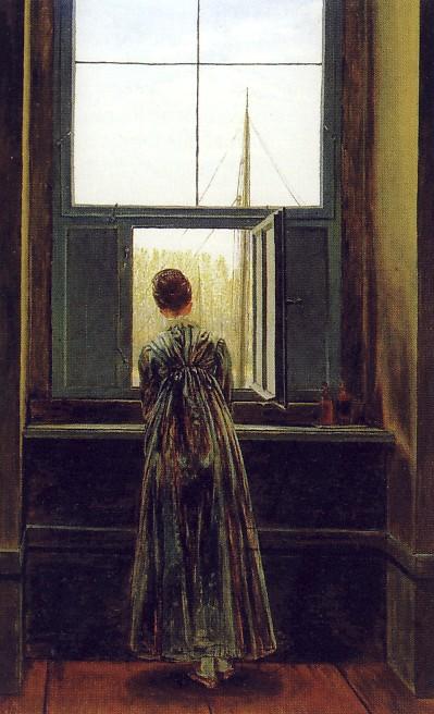 C.D.FRIEDRICH, Donna alla finestra, 1822, olio su tela, cm. 44 x 37, Berlino, Nationalgalerie