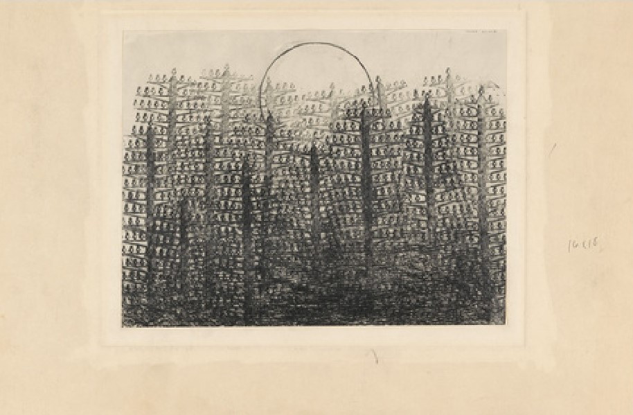 M.Ernst, Foresta e sole, 1931, frottage con matita su carta, 20 x 27,8 cm, New York, Moma