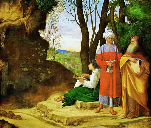 Giorgione, I tre filosofi, tra il 1506 e il 1508, olio su tela, 123,5×144,5 cm, Vienna, Kunsthistorisches Museum