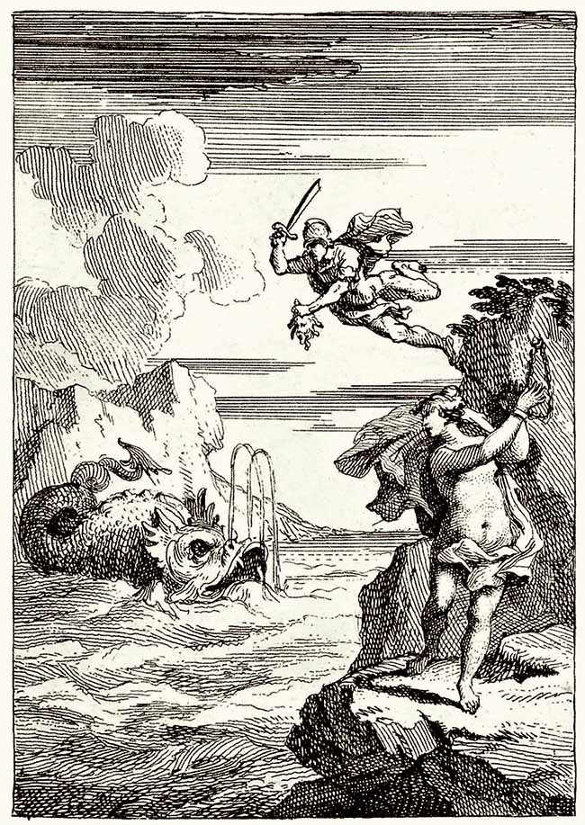 William Hogarth, Perseo che discende, l'illustrazione per il volume Perseus and Andromeda di Lewis Theobald citata in Moby Dick