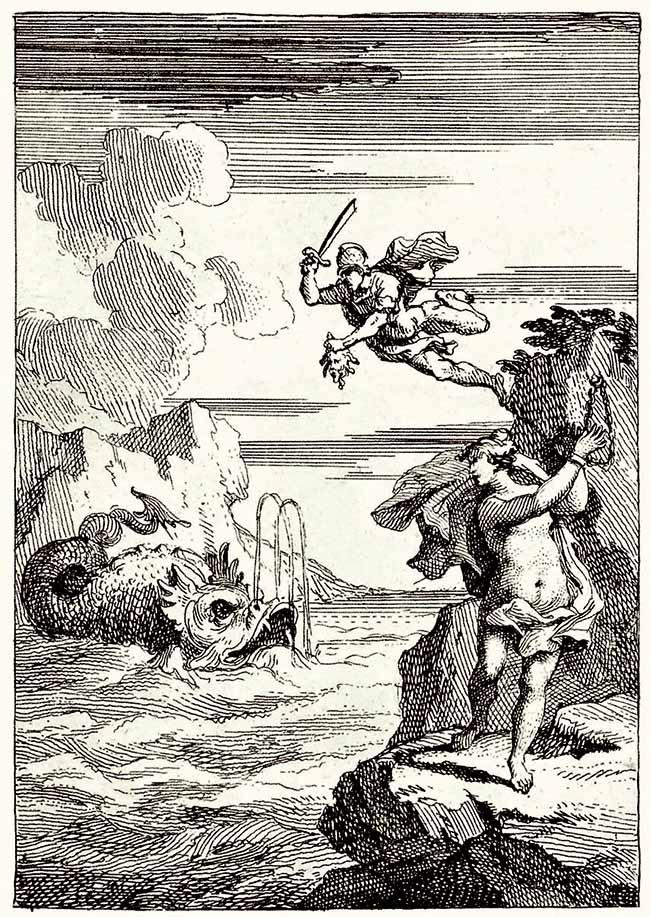 William Hogarth, Perseo che discende, l'illustrazione per il volume Perseus and Andromeda di Lewis Theobald citata in Moby Dick