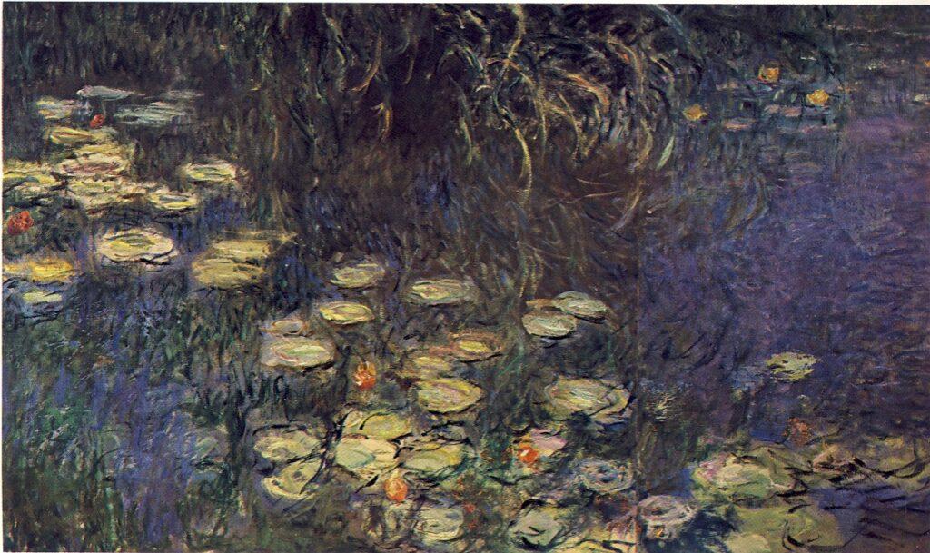 C. MONET, Ninfee - Mattino (part.), 1918, olio su tavola, 197 x 340 cm, Parigi, Museo del Louvre - Orangerie