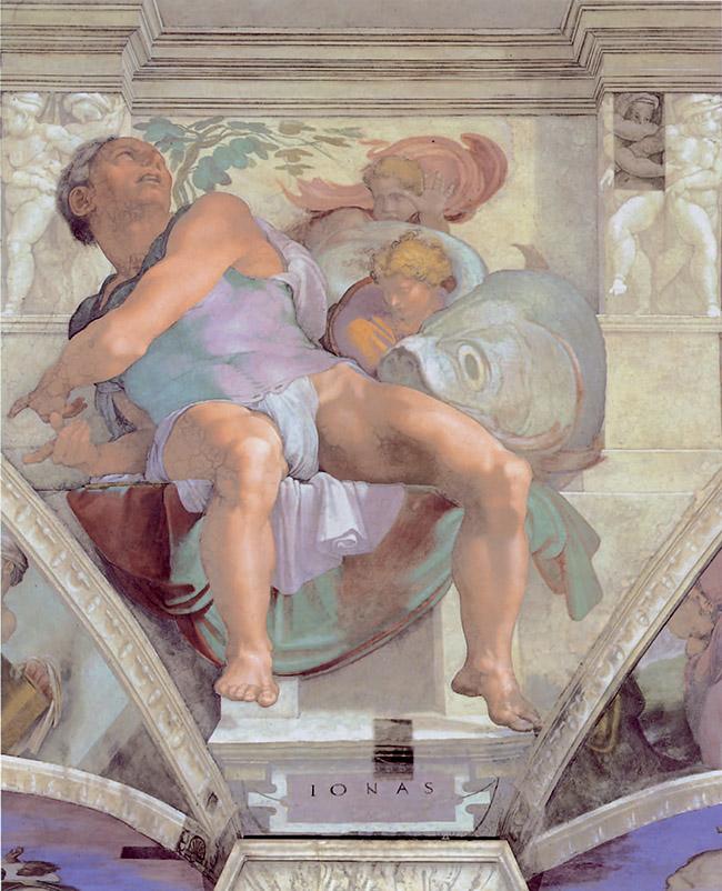 Michelangelo, Giona e la balena, affresco della Cappella Sistina
