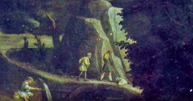 Un viandante che orina, sullo sfondo del quadro Elia confortato da un angelo (foto sopra) del Moretto