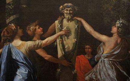 """Nicolas Poussin, """"Imeneo travestito da donna durante un'offerta a Priapo (circa 1634-1638). Il dio-erma, presiedeva i confini delle proprietà e garantiva la protezione dei campi dai ladri,  la prsoperità dell'agricoltura e degli allevamenti e la fecondità dei matrimoni che si celebravano nell'ambito del fondo da lui presidiato"""