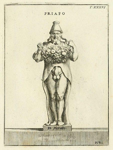Incisione tratta dall'immagine di una gemma antica che raffigura Priapo come portatore di fecondità e di ricchezza. Dal volume di Pietro Santi Bartoli , (1635-1700); Niccolo Galeotti, (1692-1758),Museo Odescalchum, sive, Thesaurus Antiquarum Gemmarum, 1751