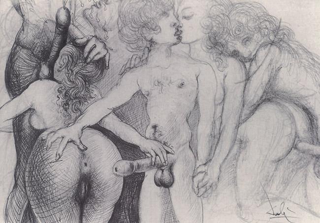 Salvador Dalí, Scena erotica  con sette figure, 1966 circa