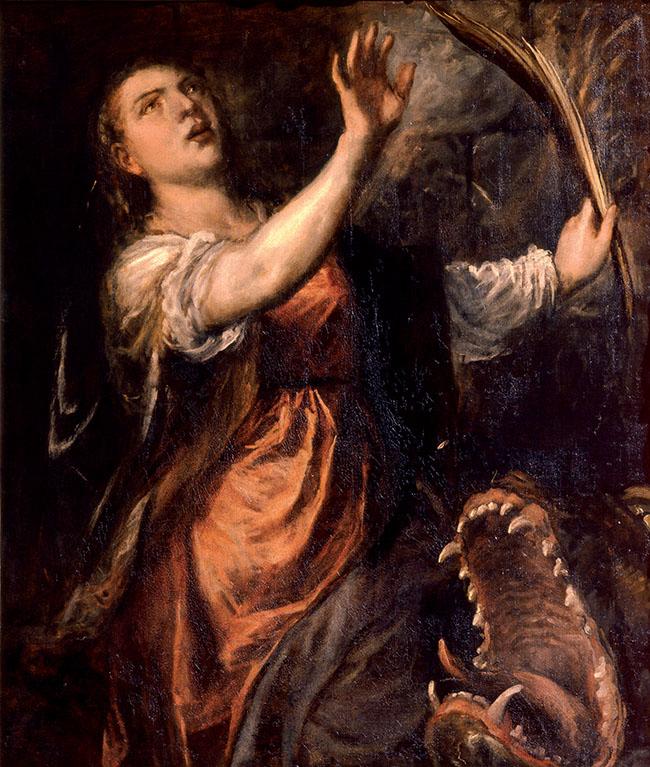 Tiziano e bottega, Santa Margherita d'Antiochia e il drago, 1565-70