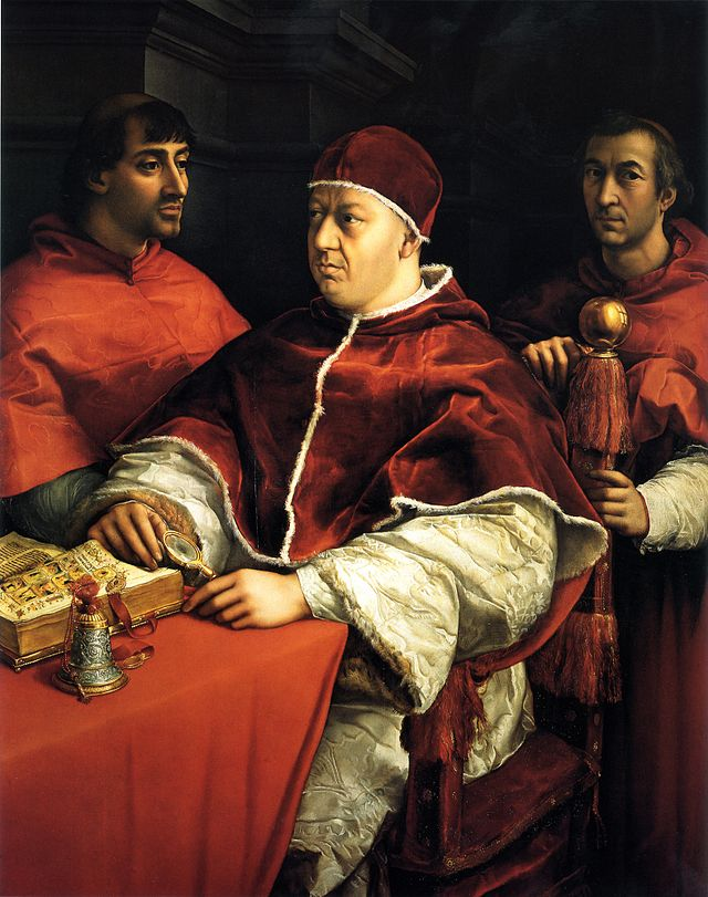 Raffaello Sanzio, Ritratto di Leone X con i cardinali Giulio de' Medici e Luigi de' Rossi, 1518 circa,  olio su tavola, 155,2x118,9, Firenze, Galleria degli Uffizi