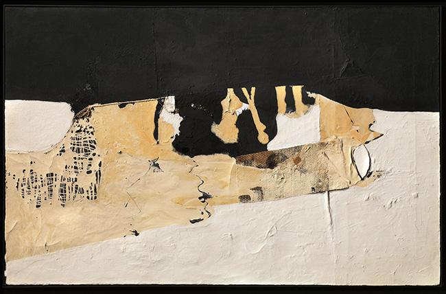 Alberto Burri, Bianco Nero, 1952, olio, acrilico e pittura polivinilica su tela, 50 x 80 cm – Robilant+Voena, Londra – Milano – St. Moritz
