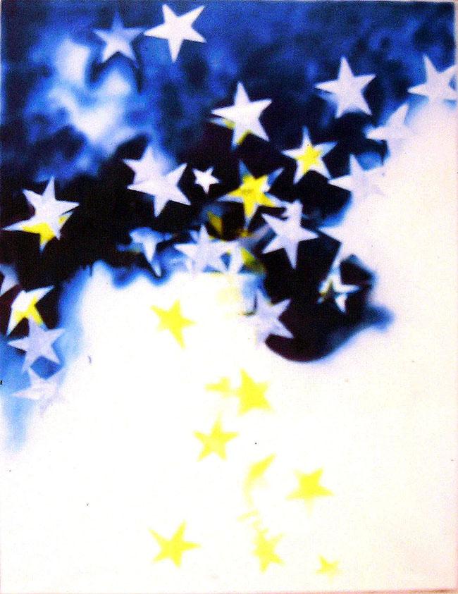 Mario Schifano, Tutte le stelle, 1967, smalto e spray su tela e perspex, 131 x 100 cm, Fondazione Schifano n° 67/033 – Galleria Tega, Milano