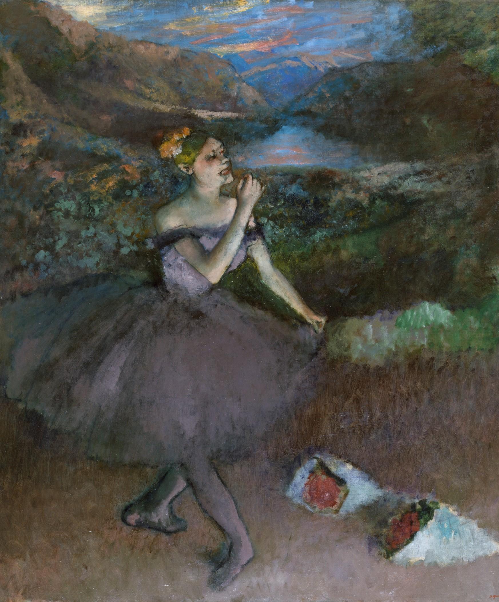 Edgar Degas, Ballerina con mazzi di fiori