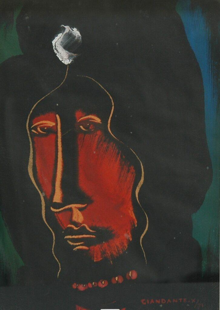 """GIANDANTE X, """"Volto"""" dipinto ad olio (cm 48x33) firmato e datato 1971 in basso a destra, in cornice"""
