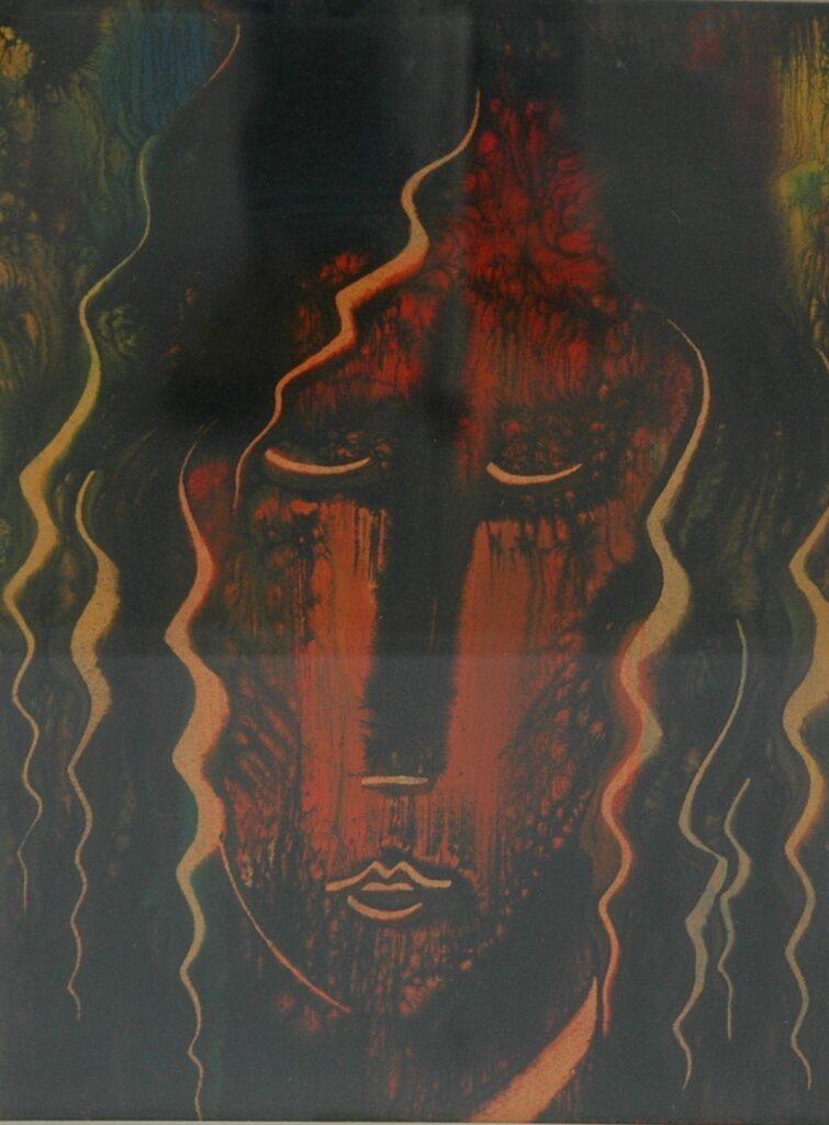 """GIANDANTE X, """"Volto"""" olio su cartone pressato (cm 47x33) firmato in basso a destra e iscritto al verso, in cornice"""