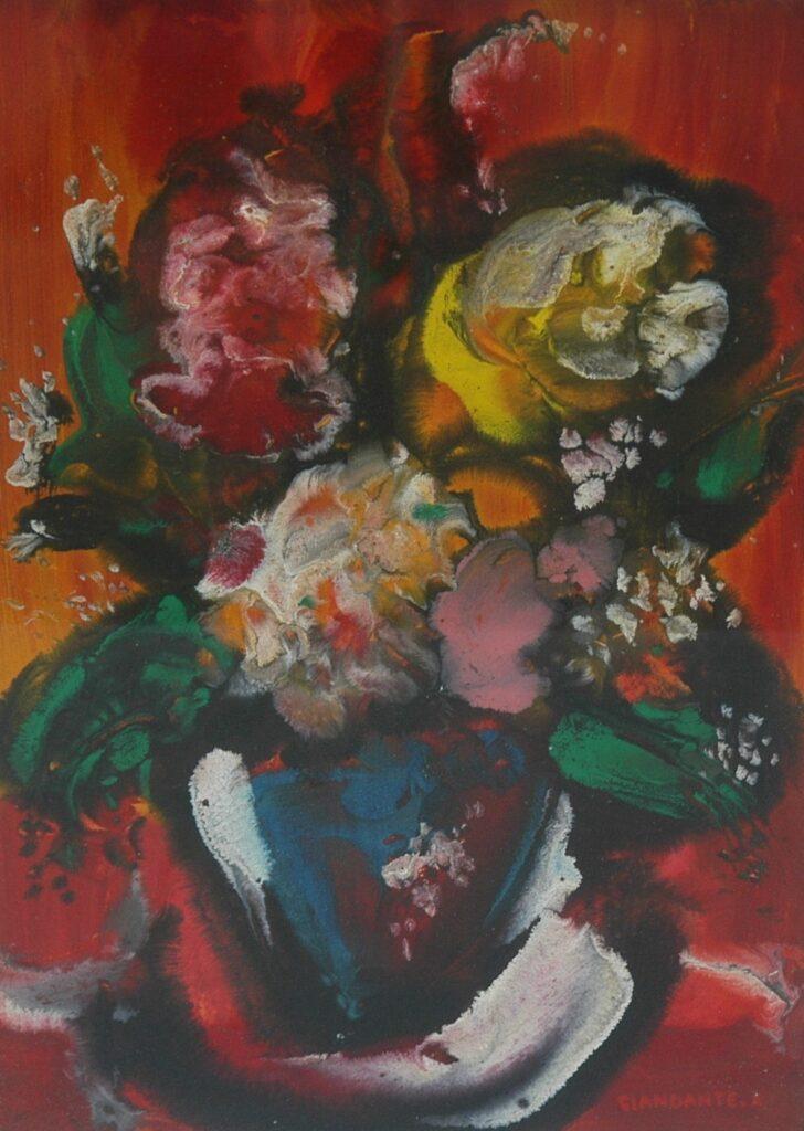"""GIANDANTE X, """"Natura morta con fiori"""", olio su cartone pressato (cm 48x33) firmato in basso a destra, in cornice"""