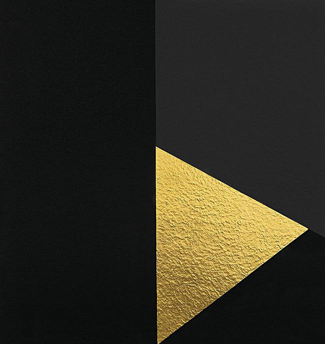 Alberto Burri: Oro e Nero 8, 1993 Serigrafia e foglia d'oro Carta Colombe cm. 60,3x86,6, Cartiera Moulins de Larroque et pombié Stamperia fausto Baldessarini, Fano