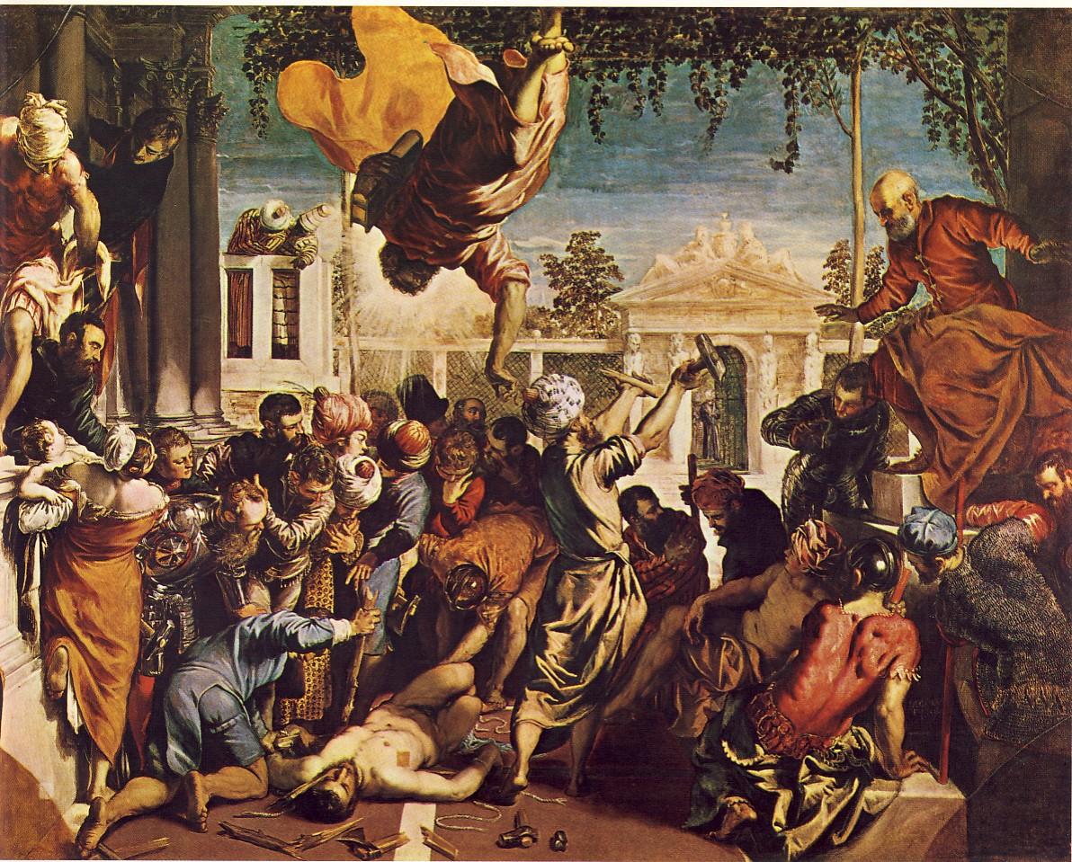 JACOPO ROBUSTI detto Il TINTORETTO, Miracolo di San Marco, 1548, olio su tela, 415 x 541 cm, Venezia Galleria dell'Accademia