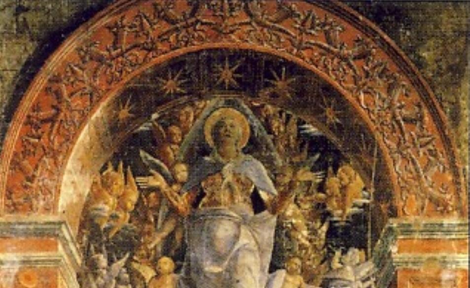ANDREA MANTEGNA, L'Assunzione della Vergine, 1449-1555, affresco base 238 cm, Padova, Chiesa degli Eremitani, Cappella Ovetari