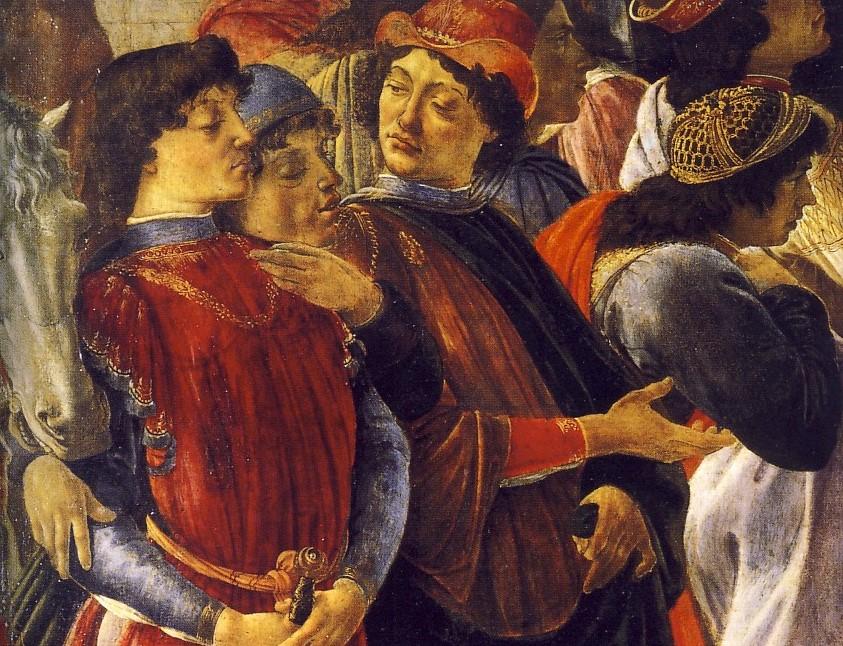 SANDRO BOTTICELLI, Adorazione dei Magi (part.), 1475, tempera su tavola, 111 x134 cm, Firenze, Galleria degli Uffizi Il personaggio al centro, con il braccio sollevato, è Pico della Mirandola.