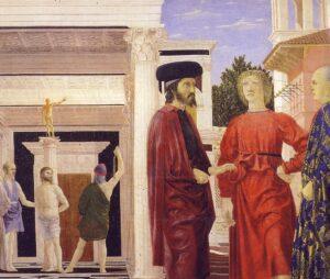 PIERO DELLA FRANCESCA, La Flagellazione di Cristo, 1444-1470, olio su tavola, 59 x 81,5 cm, Urbino, Galleria Nazionale delle Marche