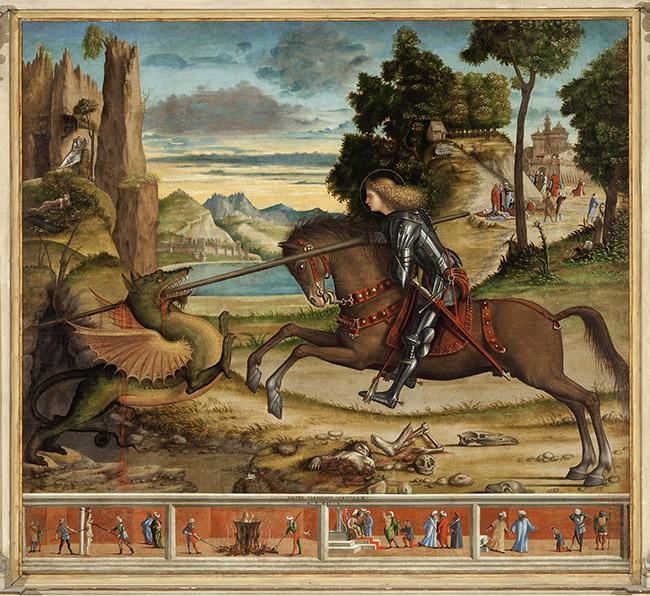 Vittore Carpaccio, San Giorgio e il drago e quattro episodi della vita del Santo 1516 San Giorgio Maggiore, Venezia