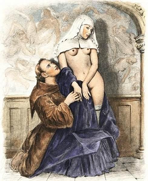 Paul-Emile-Becat, (1885-1960), La tentazione di Sant'Antonio. L'artista, che opera ormai in un mondo ampiamente secolarizzato, porta ll'episodio nel presente, immaginando il rapporto tra un monaco e una suora