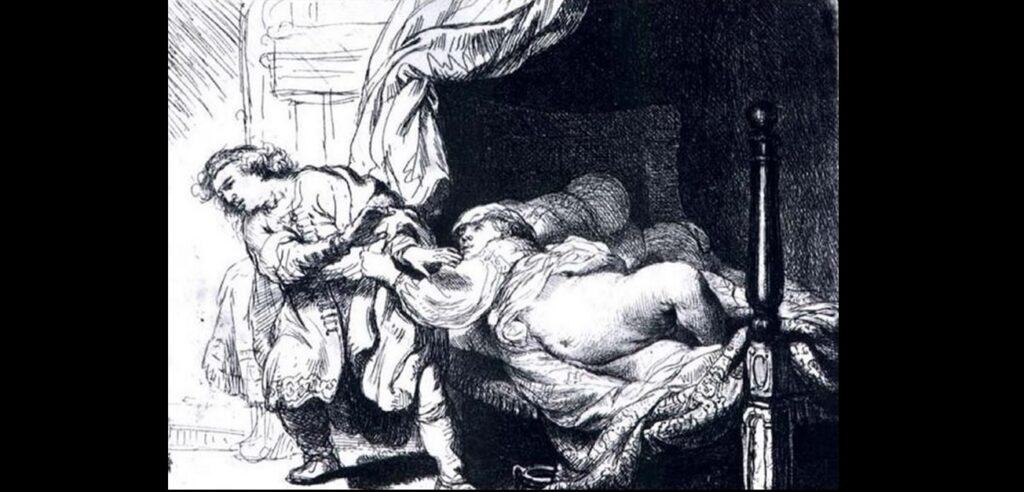 Giuseppe e la moglie di Putifarre in un'incisione di Rembrandt