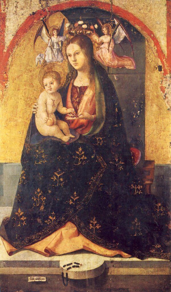 ANTONELLO DA MESSINA, Madonna con Bambino, part. Polittico di San Gregorio, 1473, tempera e olio su tavola, 129 x 76 cm, Messina, Museo Regionale