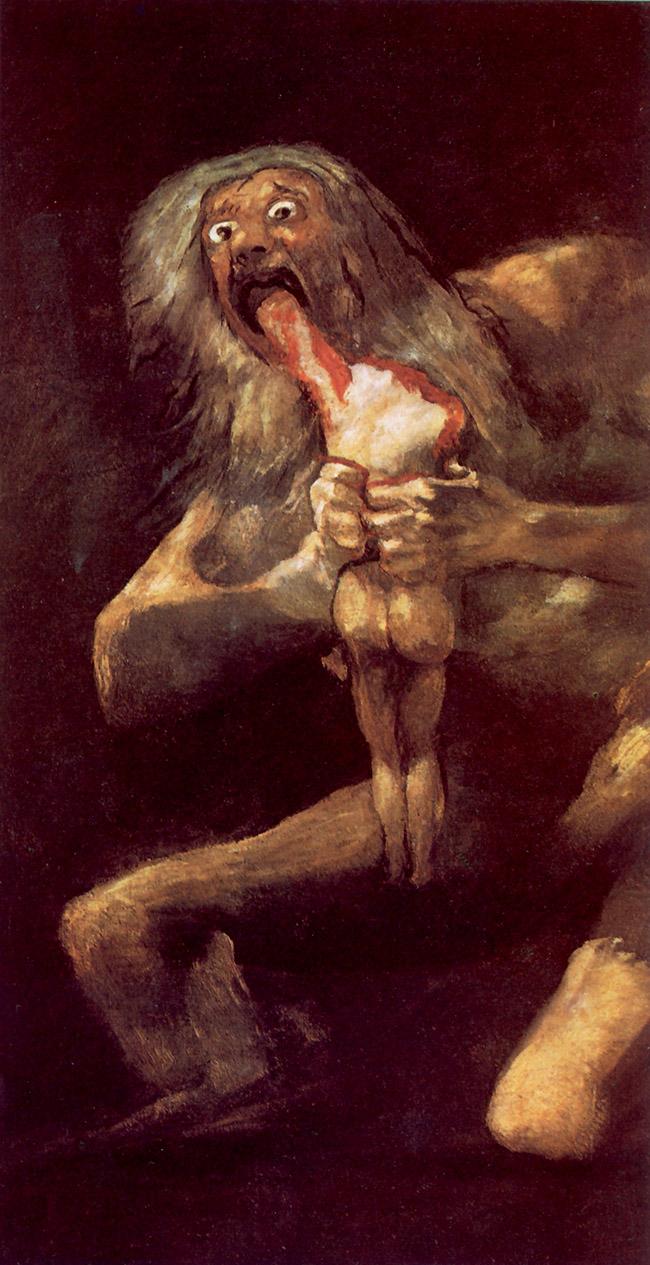 Goya, Saturno che divora i suoi figli. A questo dipinto sono ispirate le creazioni artistiche di Claux