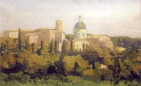 AMERIGO BARTOLI, Paesaggio da Assisi,1952, olio su tela, collezione privata