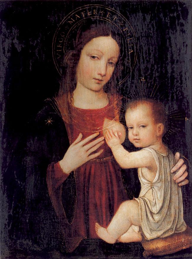 Nella Madonna del Latte del Borgognone, realizzata nel 1490 circa, gli sguardi di Maria e del Bambino sono invece rivolti all'osservatore, quasi a suggerire un suo coinvolgimento. La mano di Gesù stringe il seno scoperto della madre, mostrando il capezzolo turgido dal quale sgorga il latte, fonte di vita e nutrimento vero