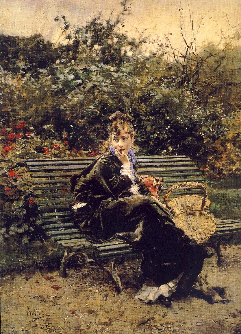 GIOVANNI BOLDINI, Sulla panchina al Bois,1872, olio su tavola, 46 x 34 cm, collezione privata
