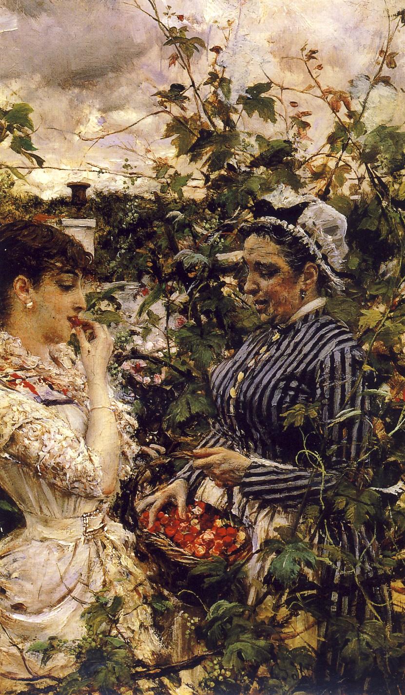 GIOVANNI BOLDINI, Primizie - Le prime fragole, 1874, olio su tela, 17 x11 cm, collezione privata