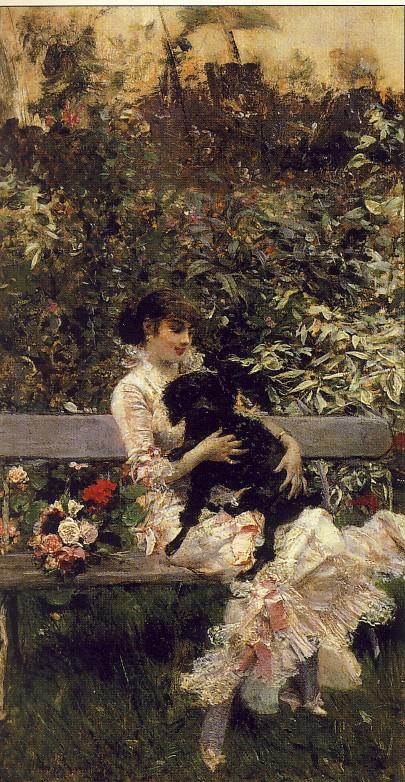 GIOVANNI BOLDINI, L'amico fedele, 1874, olio su tavola, 24 x 14 cm, collezione privata