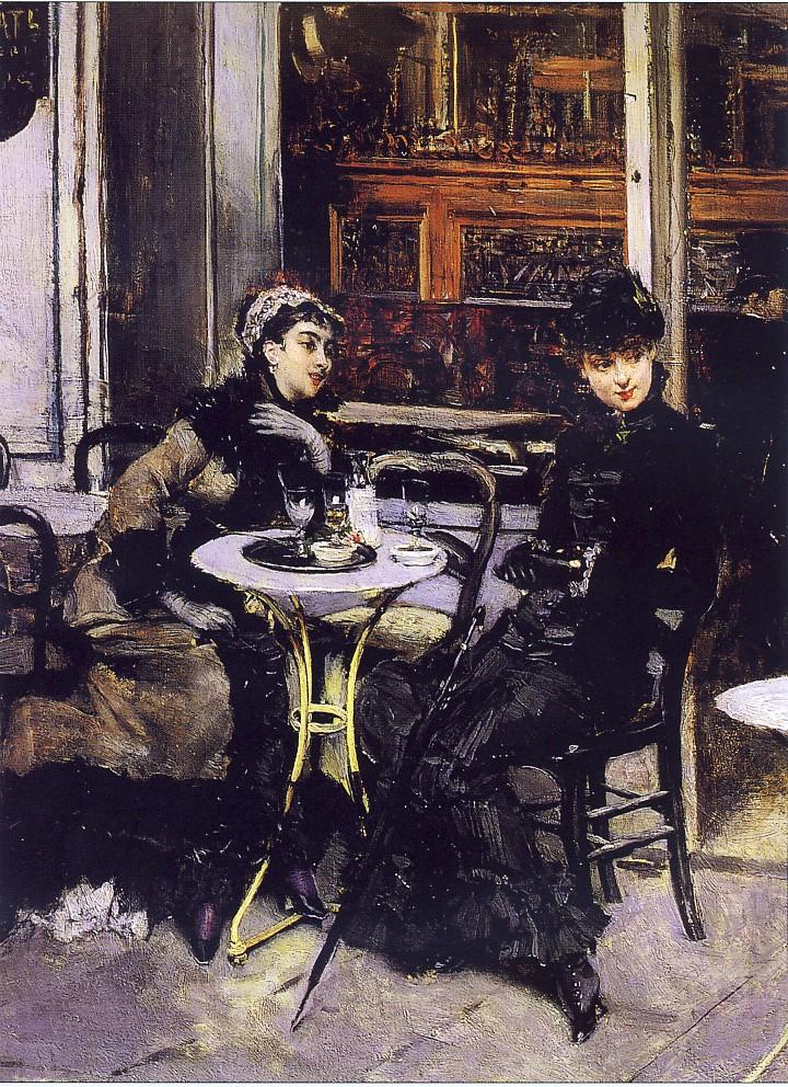 GIOVANNI BOLDINI, Conversazione al caffè, 1879 ca., olio su tavola, 28 x 41 cm, collezione privata