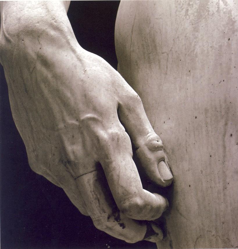 Michelangelo Buonarroti, David (part.), 1501-04, marmo, h.410 cm, Firenze, Galleria dell'Accademia