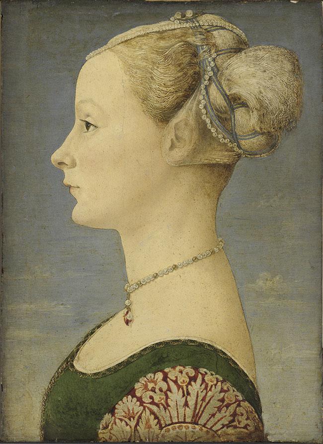Piero del Pollaiolo Ritratto di giovane donna, 1470-1475 circa tempera e olio su tavola, cm 45,5 x 32,7  ©Milano, Museo Poldi Pezzoli