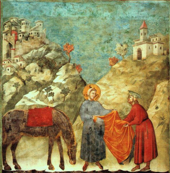 Giotto, Il dono del mantello, 1295-1299, affresco, 230×270, Assisi, Basilica superiore di Assisi,