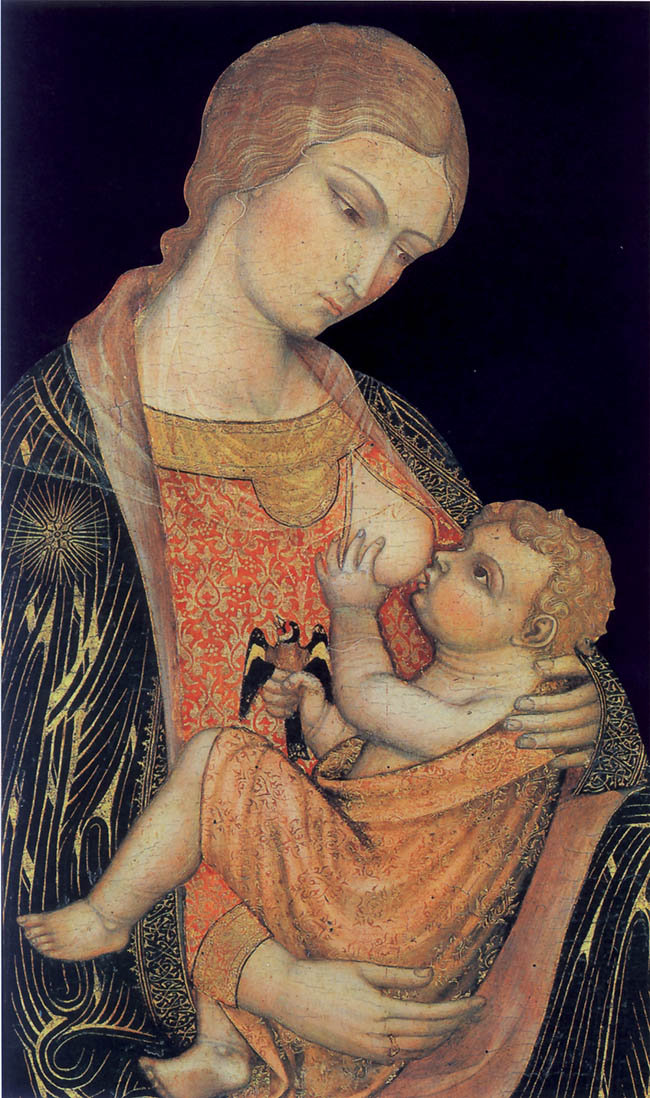 Nella versione della Madonna dell'Umiltà con angeli e santi di Gregorio di Cecco (del 1423, oggi al Museo dell'Opera di Siena), l'attenzione è tutta posta sulla relazione tra gli occhi della Madre e quelli del Bambino e sull'ineffabile dolcezza degli atteggiamenti