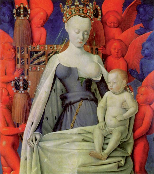 Jean Fouquet, Madonna col Bambino,  olio su tavola, 91x81 cm, 1451-52 circa