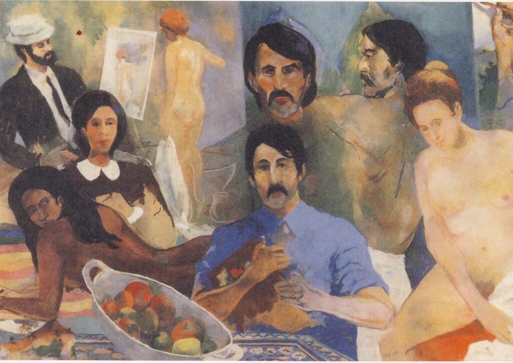 """Derek Walcott, Lo studio di Gauguin. Il dipinto, realizzato nel 1986 dal poeta insignito del premio Nobel per la letteratura, costituisce un canto a Gauguin, colui che, scrive Walcott"""" ci spinge alla ricerca dl mondo conosciuto e amato: la pelle brunita/donne e papaie, una collina della Martinica./ Il nostro martire. L'unico. Morì per i nostri peccati"""". Il quadro è stato scelto da Adelphi per la copertina del poema """"Il levriero di Tiepolo"""""""