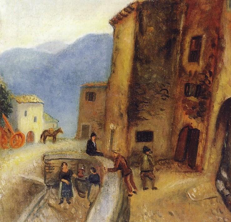 Scipione (Gino Bonichi), Angolo di Collepardo (o Paesaggio a Collepardo), 1929, olio su tela, 44 x 44 cm, collezione privata