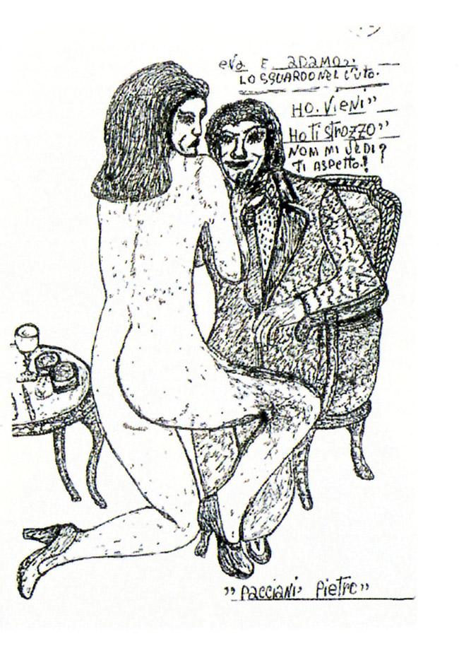 Un disegno di Pietro Pacciani,  processato per omicidio plurimo