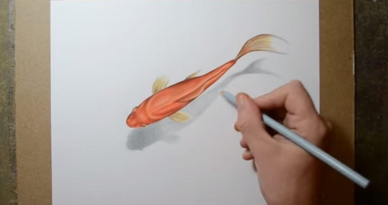 Disegnare e dipingere i pesci rossi con effetto for Quadri semplici