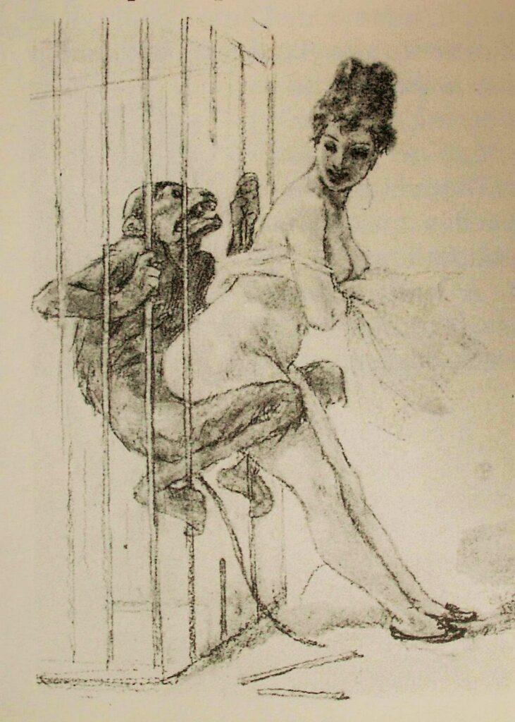 Un disegno di Félicien Joseph Victor Rops (1833-1898). L'artista belga mette in relazione il peccato con le tentazioni carnali della donna, che risultano irresistibili, e declina il simbolo dello scimpanzè come avveniva nel passato remoto, quando la scimmia era considerata rappresentazione della parte pulsionale e primitiva dell'uomo