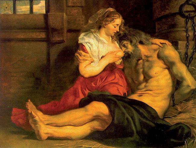 Pieter Paul Rubens, La Carità romana.  In questo quadro Pero osserva amorevolmente il volto del padre, mentre lo aiuta a bere il latte dal proprio seno. Si tratta di una particolarità: di solito, infatti, la giovane è ritratta con lo sguardo indirizzato all'esterno del campo visivo, come nel caso del dipinto di Manfredi, tesa a percepire l'imminente ritorno del carceriere